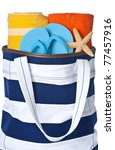 Beach Bag With Colorful Towels...