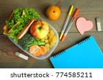 school lunch and stationery on... | Shutterstock . vector #774585211