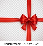 bow and red satin ribbon... | Shutterstock .eps vector #774593269