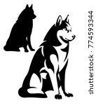 Stock vector sitting husky dog simple black and white design vector outline and silhouette 774593344