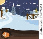 let it snow. fox sleeping in a... | Shutterstock .eps vector #774599614