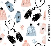 cute winter vector seamless... | Shutterstock .eps vector #774609925