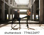 young athlete couple doing kick ... | Shutterstock . vector #774612697