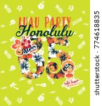 cute dancer girl honolulu luau... | Shutterstock .eps vector #774618835