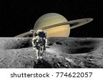 planet saturn from saturn moon... | Shutterstock . vector #774622057