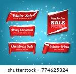 winter set of red  vector ... | Shutterstock .eps vector #774625324