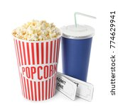 cup with popcorn  soda and... | Shutterstock . vector #774629941