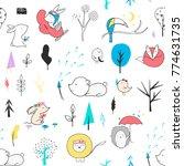 nursery seamless pattern.... | Shutterstock .eps vector #774631735