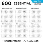 600 essential thin line vector... | Shutterstock .eps vector #774632635