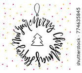 merry christmas and happy new... | Shutterstock .eps vector #774635845