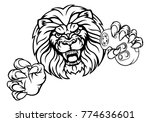 a lion angry animal esports... | Shutterstock .eps vector #774636601