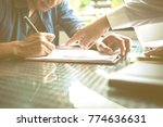 business partners signing... | Shutterstock . vector #774636631