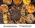 top view of plates with tasty... | Shutterstock . vector #774643165