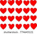 set of hearts . grunge stamps... | Shutterstock .eps vector #774645121