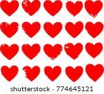 set of hearts . grunge stamps... | Shutterstock .eps vector #774645121