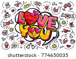 love you word bubble. message... | Shutterstock .eps vector #774650035