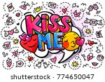 kiss me word bubble. message in ... | Shutterstock .eps vector #774650047