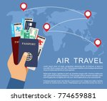 hand holding airline tickets... | Shutterstock .eps vector #774659881