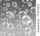 pure clear water drops. set of... | Shutterstock .eps vector #774672811