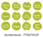 green vector organic labels ... | Shutterstock .eps vector #774674119