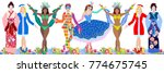 large masquerade set. group of... | Shutterstock .eps vector #774675745
