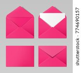 pink color realistic envelope... | Shutterstock .eps vector #774690157