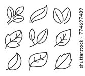 leaves line icon vector set  | Shutterstock .eps vector #774697489