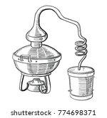 alcohol distillation process.... | Shutterstock .eps vector #774698371