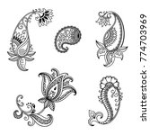 set of mehndi flower pattern... | Shutterstock .eps vector #774703969
