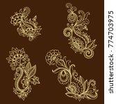 set of mehndi flower pattern... | Shutterstock .eps vector #774703975