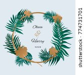 trendy tropical leaves vector... | Shutterstock .eps vector #774731701
