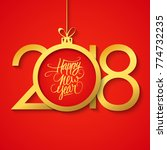 2018 happy new year greeting... | Shutterstock .eps vector #774732235