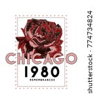 chicago and rose embroidery and ... | Shutterstock .eps vector #774734824