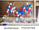 red  blue and white balloons... | Shutterstock . vector #774737794