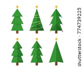 collection of christmas trees ... | Shutterstock .eps vector #774739225