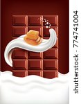 chocolate milk tongue with... | Shutterstock .eps vector #774741004