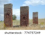 Small photo of JULY 09,2012 BITLIS TURKEY.The Tombstones of Ahlat are famous for their dimenison and design.The cemetery remains from Selcuklu era and recorded in UNESCO World Heritage list.