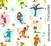 sport people woman and man flat ... | Shutterstock .eps vector #774764389