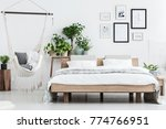 plants behind wooden bed near... | Shutterstock . vector #774766951