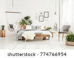 white fur on bench and grey... | Shutterstock . vector #774766954