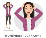 surprised shocked asian woman | Shutterstock .eps vector #774773947