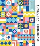 cute geometric pattern. card in ... | Shutterstock .eps vector #774775141