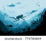 diver explorers and reef... | Shutterstock .eps vector #774784849