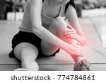 young girl suffering or injury... | Shutterstock . vector #774784861