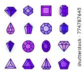 thin line gems icons set ...