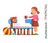 girl kid play keeping house... | Shutterstock .eps vector #774791761