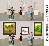 people in museum and gallery | Shutterstock .eps vector #774795511