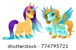baby unicorn and pegasus with... | Shutterstock .eps vector #774795721