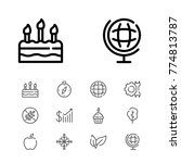 editable cake icons set with...