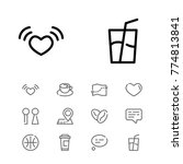 editable icons set with map pin ...